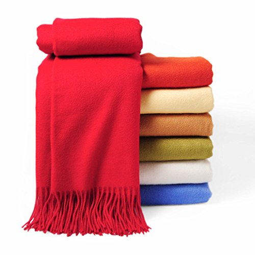 CUDDLE DREAMS Premium Cashmere Throw Blanket with Fringe, Luxuriously Soft (Red) ()