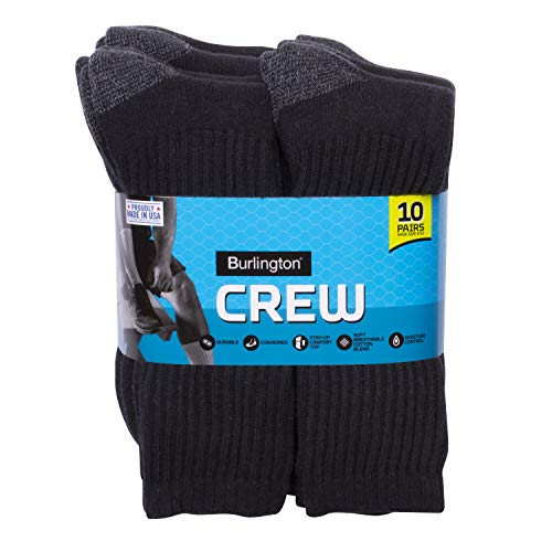 Cotton Black Crew Sport Socks - Burlington Men's Cotton Crew Socks Comfort Power (10-Pack), Black, Size 10-13/Shoe Size 6-12