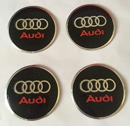 Luck16888 4 x 56mm Audi Car Wheel Center Hub Caps Trim Stickers Emblem Styling Red Letter