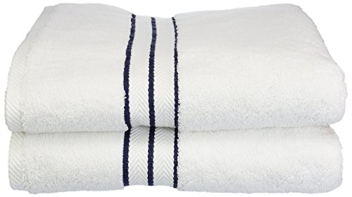Superior Hotel Collection 900 Gram, Long-Staple Combed Cotton 2 Piece Bath Towel Set, White with Navy Blue Border