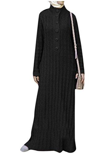 Islamico Classico donne Maglia Coolred Puro Musulmano Lunghezza Vestito Piena Colore Nero Del Di EqTwSSH