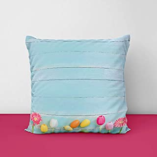 41XtpDnnjKL. SS320 Colorful Eggs Spring Flowers Square Design Printed Cushion Cover