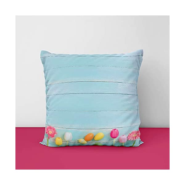 41XtpDnnjKL Colorful Eggs Spring Flowers Square Design Printed Cushion Cover