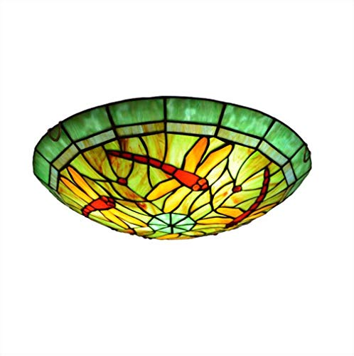 16-Inch Ceiling Fixture Flush Mount Ceiling Light, Tiffany Style Dragonfly Pattern Stained Glass Shade Lamp Semi Flush Mount Light Use E26/E27 Light,30cm ()