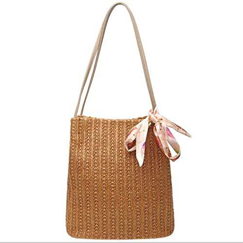 - ESTHER Women Handmade Rattan Woven Bag Bucket Bohemia Straw Rope Weaving Messenger Lady Paper Bag New 2019 Light Brown