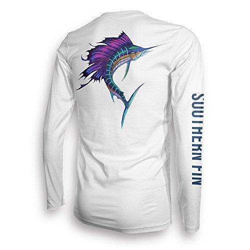 Performance Fishing Shirt Unisex Southern Fin UPF 50 Dri Fit Long Sleeve Apparel - X-Large, Sailfish ( sailfish_xl (Performance Fin)