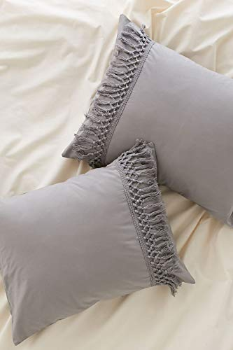 Flber Gray Pillowcases Tassel Sham Cotton Pillow Covers,Set of 2 (19.7in x35.5in) (Gray King)