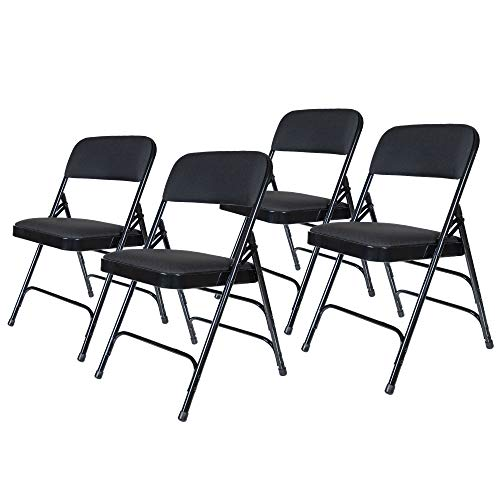 (OEF Furnishings OEF2310 Premium Fabric Upholstered Steel Folding Chairs, 4 Pack, Black)