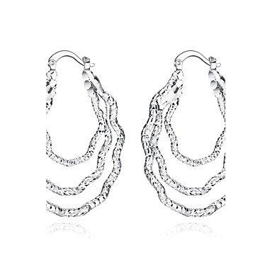 HFJ& YIE& H Boucles d'oreille gitane Argent sterling Plaqué argent Mode Forme de Cercle Blanc Bijoux Soirée Quotidien Décontracté Sports 1 paire HFJ&YIE&H jewelry