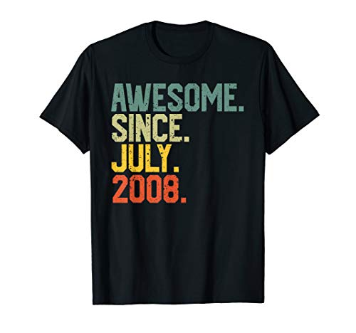 Awesome since July 2008 T-Shirt Vintage 11th Birthday -