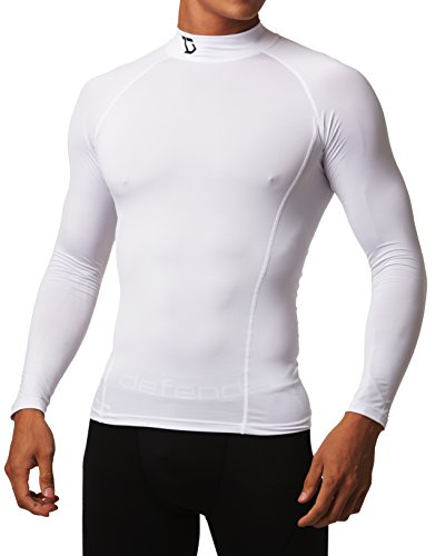 White Baseball Undershirt (Defender Compression Men Shirt Under Hombre Tights Hockey WH_L)