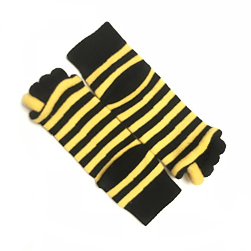 Moja Sports Toes Alignment Socks Open Five Toe Separator Spacer Relaxing Comfort Tendon Pain Relief Comfy Foot Sock Yoga Gym Pedicure (Black/Yellow - 1 Pair)