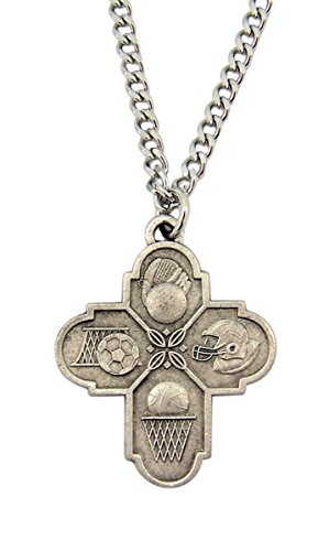 Pewter Saint Christopher Sports Cross Pendant Necklace, 1 1/4 Inch
