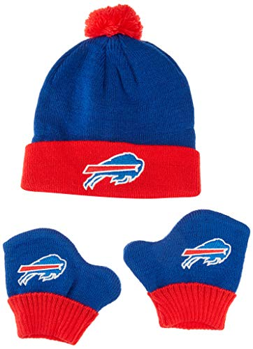 OTS NFL Buffalo Bills Pow Knit Cap & Mittens Set, Sonic Blue, Infant