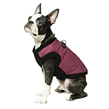 Gooby Fashion Quilted Bomber Dog Vest with Stretchable Chest, Purple, Medium