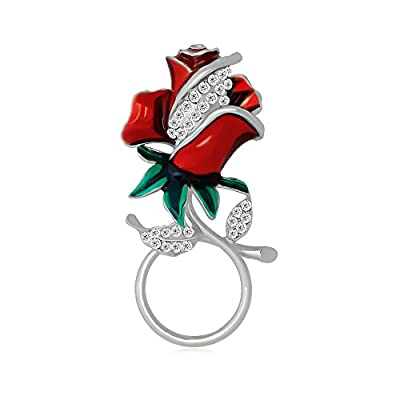 Hot TUSHUO Delicate Rhinestone Enamel Rose Magnetic Eyeglass Holder Red Rose Brooch for Anyone hot sale