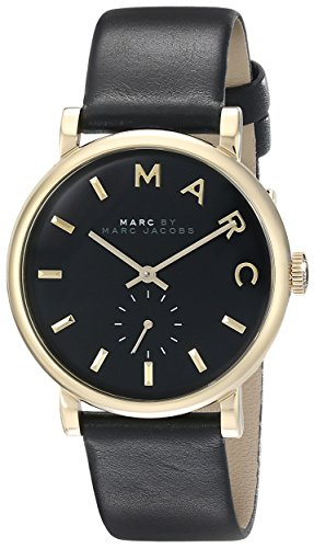 마크바이마크제이콥스 베이커 시계 검정 Marc by 마크 제이콥스 Marc Jacobs Womens MBM1269 Baker Gold-Tone Stainless Steel Watch with Black Leather Band