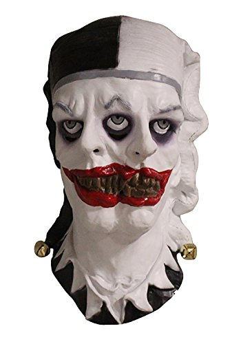 Latex Jester (Two Face Jester Clown Latex Full Head Mask Fancy Dress Scary Zombie Halloween Costume Masks)