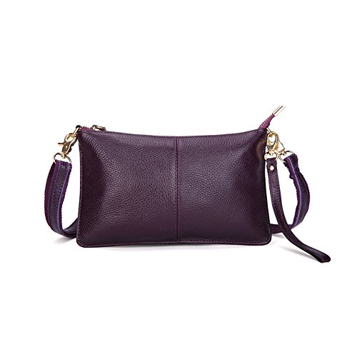 Genuine Bag Leather Phone Purse Crossbody Wallets Mynos Clutch Small Women Wristlet Fashion For Purple IaBqnn5x
