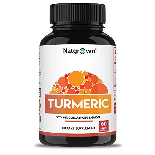 Turmeric Curcumin with Ginger & Bioperine – All Natural Anti Inflammatory & Joint Pain Relief Supplement with Black Pepper for Better Absorption – Non-GMO Made in USA (60 Vegan Capsules)