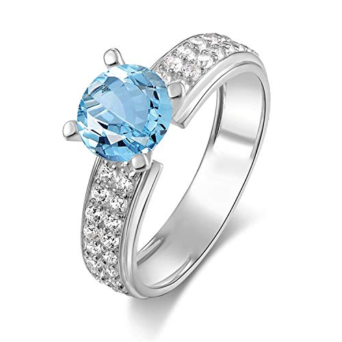 Aokarry - S925 Silver Sterling Womens Silver Promise Ring Blue Created-Topaz December Birthstone Size 6