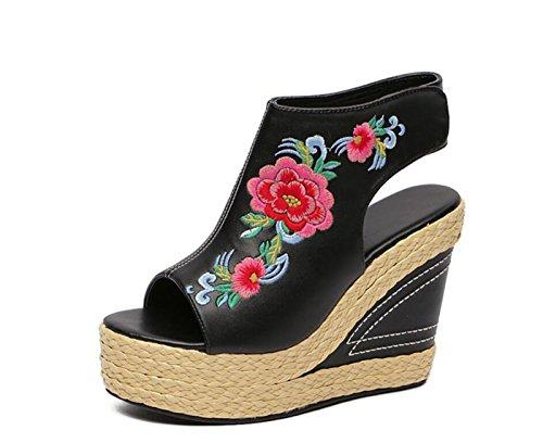 DANDANJIE Zapatos para Mujer Sandalias de Bordado Bohemio Casuales Cuñas talón Estilo étnico Romano Zapatos Zapatos caseros Negro