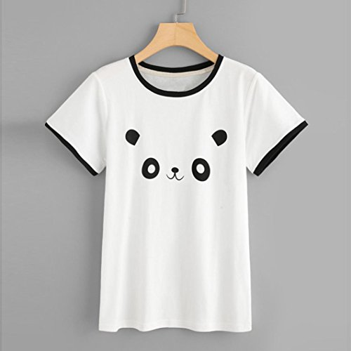 Donna Camicia t Stampa Tumblr Donna Manica Divertenti Collo t Panda Casual Maglietta Corta Magliette Vintage beautyjourney Tumblr Bianca Top Shirt Corta Manica O Ragazza estive Shirt Donna Sq0Bnw1p