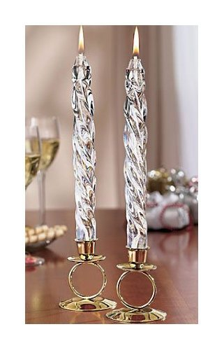 "Glass Oil Spiral Tapers 8"" Pair Candles w/ 2 SILVER Plaited Candle Holders"