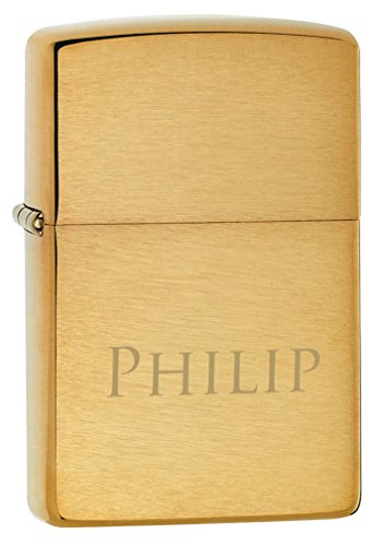 Personalized Zippo Brushed Finish Brass Armor Heavy Wall Lighter free engraving
