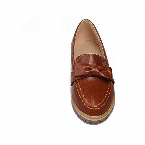 Carolbar Womens Fashion Comfort Bows Vintage Retro Low Heel Loafers Shoes Brown Yellow QoC8M