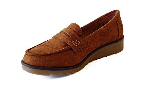 Zapato Cuña Mocasin Mujer Camel