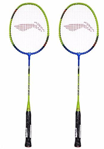 Li Ning Smash XP 810 Strung Badminton Racquet  Set of 2  Blue/Lime Green