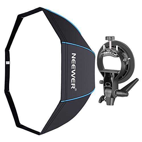 Neewer 32 inches/80 centimeters Octagonal Softbox with Blue Edges, S-Type Bracket Holder (with Bowens Mount) and Carrying Bag for Speedlite Studio Flash Monolight, Portrait and Product ()