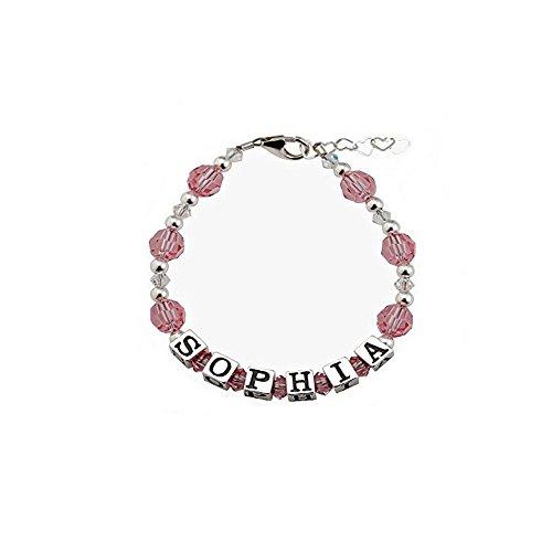 Swarovski Name Bracelet (Personalized Name Baby Bracelet Sterling Silver with Swarovski Crystals (BPN_L))