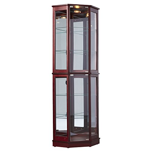 Tall Lighted Corner Curio Cabinet - Corner Hutch for Collectibles, China or as a Liquor Cabinet - Display Case with 2 Shelf Platforms, 4 Adjustable and Removable Glass Shelves and ()