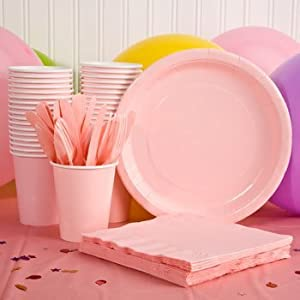 Pink Plastic Party Eatery Set (Napkins Cups Plates Spoons Forks Knives Tablecloth)  sc 1 st  Amazon.com & Amazon.com: Pink Plastic Party Eatery Set (Napkins Cups Plates ...