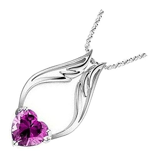 UPCO 18K White Gold Plated Angel Wings Pendant Necklace, Amethyst Purple Love Heart Austrian Crystal