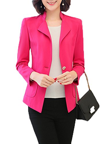 SiYuan Womens Casual Work Office One Button Front Blazer Jacket US2/Tag L Rose 850