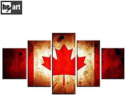 5 Panneau Oeuvre Encadree Drapeau Canada Photo Decorations Toile Imprimer Peintures Feuille D Erable Banniere Affiche Affiche De Style Retro Pret A Accrocher A Amazon Fr Cuisine Maison