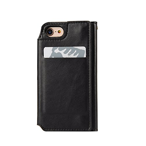 Carcasa iPhone 6 [Espejo Cosmetico] Desmontable Multifuncional Funda PU Leather Cuero Artificial de Calidad Superior Protectora Phone Movil Case Cover Sunroyal iPhone 6S Wallet Maquillaje Mirror Shell A-06