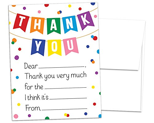 Pack of 28 - Kids Thank You Cards and Envelopes - Fill in the Blank Notes for Boys or Girls Birthday - Premium