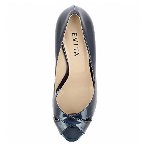 Foncé Cuir Shoes Evita Escarpins Verni Peep Toe Elisa Bleu wFwXaq8