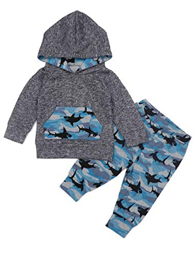 Baby Boys Clothes Baby Shark Doo Doo Doo Long Sleeve Hoodie Tops Sweatsuit + Pants Outfit Set 18-24 Months Grey