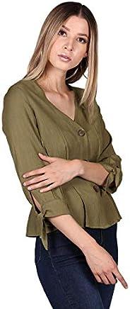 Bobois Blusas Mujer Moda Casuales Manga 3/4 Pinzas N03100