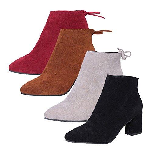 Élégantes Talons pour Cheville s Chaussures Noir Bottines 2017 de Mode Femmes Hibote Bottes t1gqP