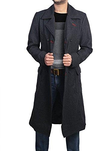 Sherlock Holmes Consulting Benedict Cumberbatch Detective Woolen Trench Coat (XL) Black