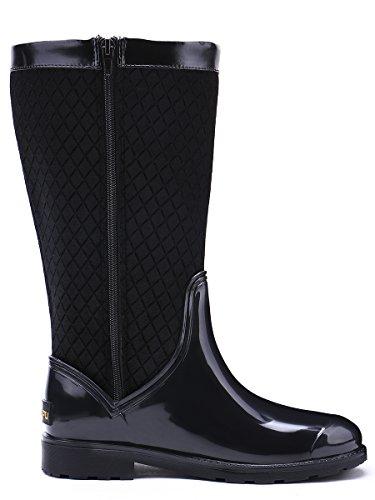 Frauen Wellington Festival TONGPU Schwarz Warm Wellies Regenstiefel Stylish Zip Waterproof Black Zqw116d4