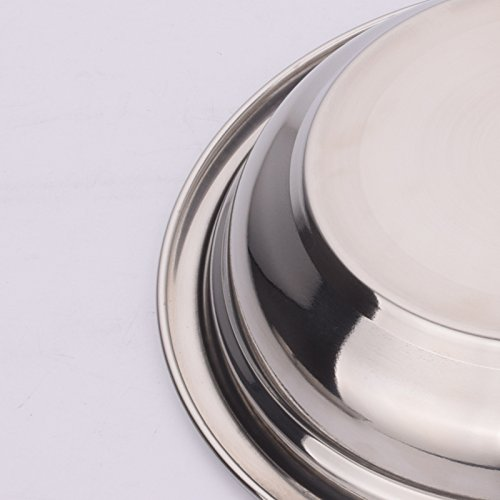 Eaglood Plate Dish 304 Stainless Steel 18/8 Fruit Vegetable Meat Round Thicken Deepen Tray Household Restaurant Gifts 4 Pcs 16cm 4pcs
