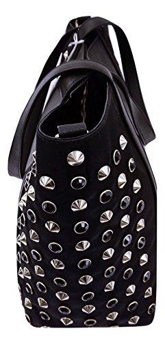 Borsa Shopping Patrizia Pepe, colore nero, con borchie laterali