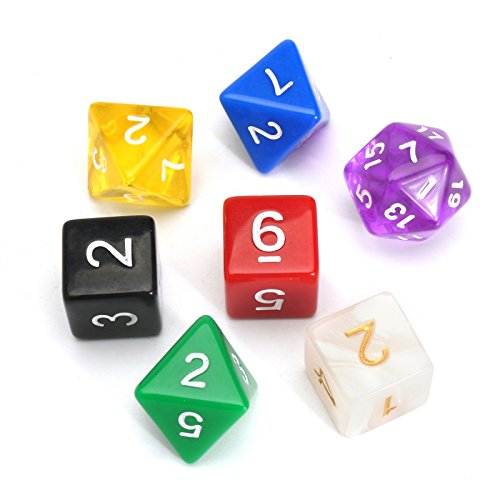 49pcs 7 Sided Acrylic Colors Carry w Dice Bag Digital Polyhedral Set Multi BWaxOnqrBw